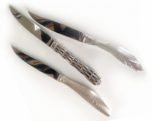 Steak knifes STRATUS, BAMBOU, JARDINS DE GIVERNY silverplated bronze or gol - © Lauret Studio