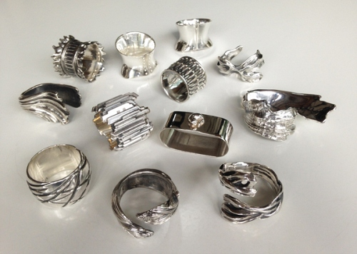 Napkin rings Collection, silver-plated bronze or gold-plated  - © Lauret Studio