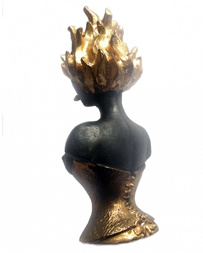 LOLA knob 3/4 back Bronze, black patina and gold plated - © Lauret Studio